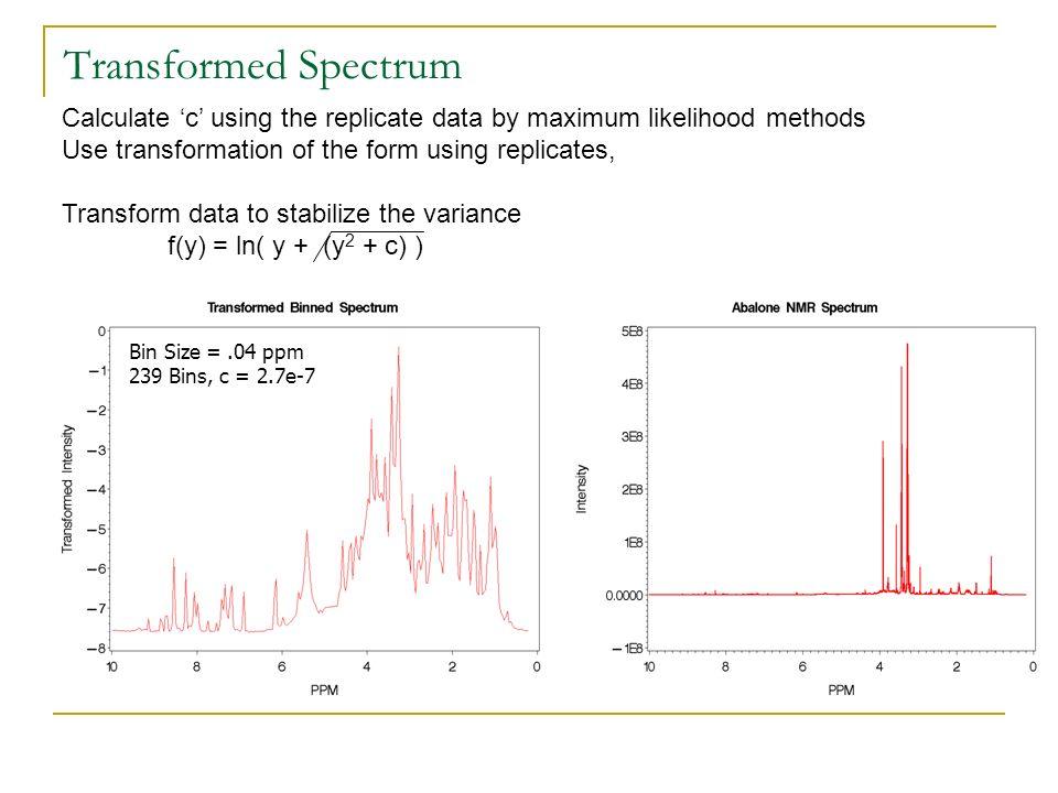 Transformed Spectrum Bin Size =.04 ppm 239 Bins, c = 2.7e-7 Calculate c using the replicate data by maximum likelihood methods Use transformation of t