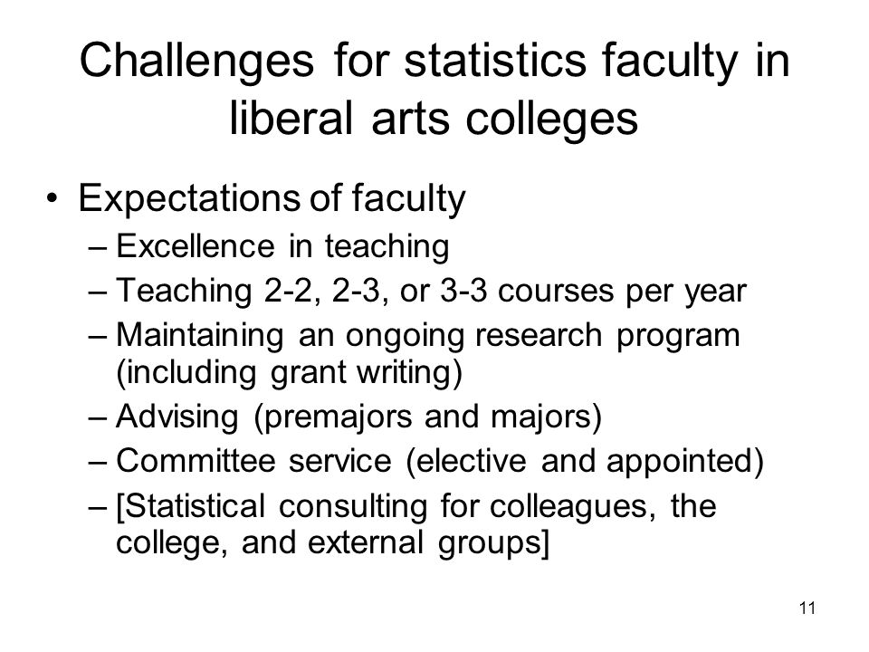 11 Challenges for statistics faculty in liberal arts colleges Expectations of faculty –Excellence in teaching –Teaching 2-2, 2-3, or 3-3 courses per year –Maintaining an ongoing research program (including grant writing) –Advising (premajors and majors) –Committee service (elective and appointed) –[Statistical consulting for colleagues, the college, and external groups]