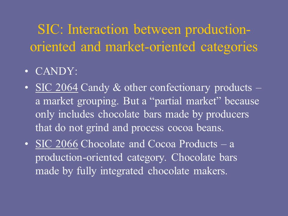 SIC: Interaction between production- oriented and market-oriented categories CANDY: SIC 2064 Candy & other confectionary products – a market grouping.