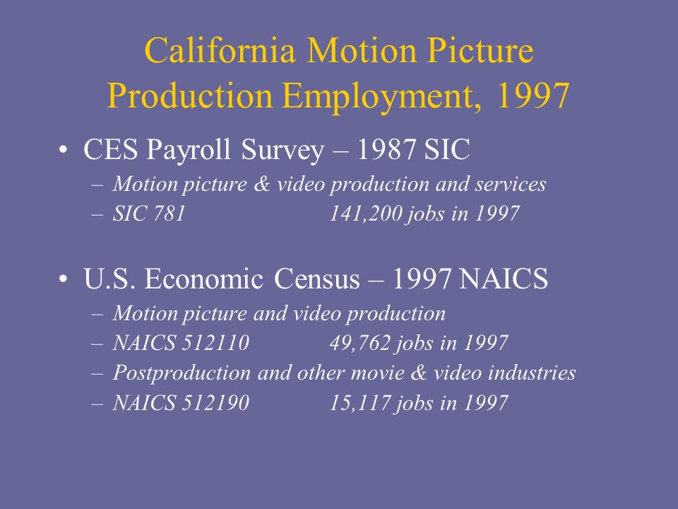 California Motion Picture Production Employment, 1997 CES Payroll Survey – 1987 SIC –Motion picture & video production and services –SIC 781 141,200 jobs in 1997 U.S.