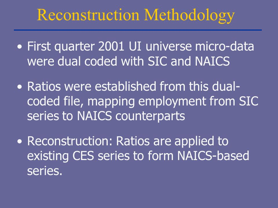 Reconstruction Methodology First quarter 2001 UI universe micro-data were dual coded with SIC and NAICS Ratios were established from this dual- coded file, mapping employment from SIC series to NAICS counterparts Reconstruction: Ratios are applied to existing CES series to form NAICS-based series.