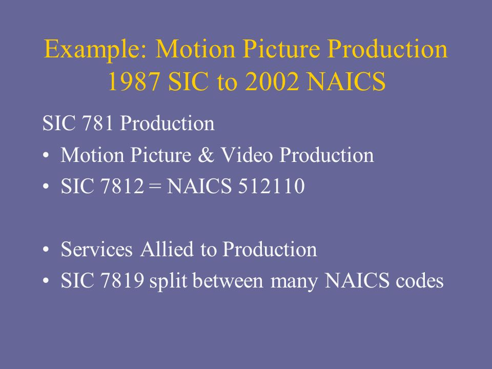 Example: Motion Picture Production 1987 SIC to 2002 NAICS SIC 781 Production Motion Picture & Video Production SIC 7812 = NAICS 512110 Services Allied to Production SIC 7819 split between many NAICS codes