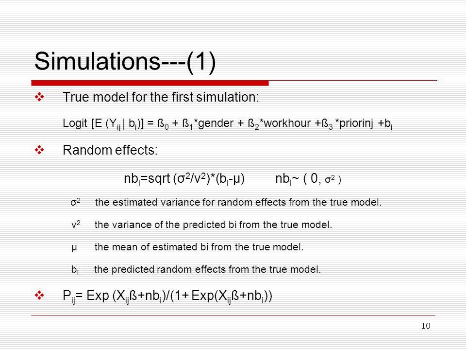 10 Simulations---(1) True model for the first simulation: Logit [E (Y ij | b i )] = ß 0 + ß 1 *gender + ß 2 *workhour +ß 3 *priorinj +b i Random effec