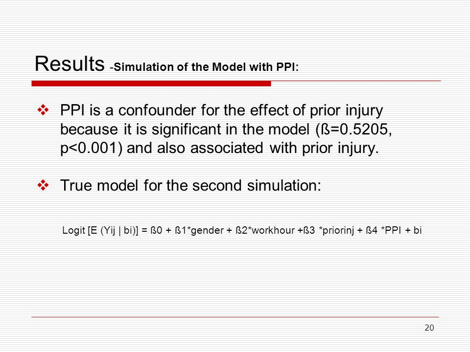 20 Results -Simulation of the Model with PPI: PPI is a confounder for the effect of prior injury because it is significant in the model (ß=0.5205, p<0.001) and also associated with prior injury.