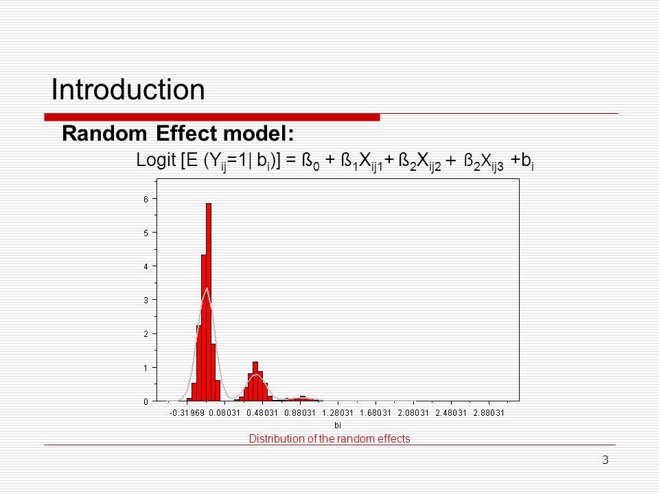 3 Introduction Distribution of the random effects Random Effect model: Logit [E (Y ij =1| b i )] = ß 0 + ß 1 X ij1 + ß 2 X ij2 + ß 2 X ij3 +b i