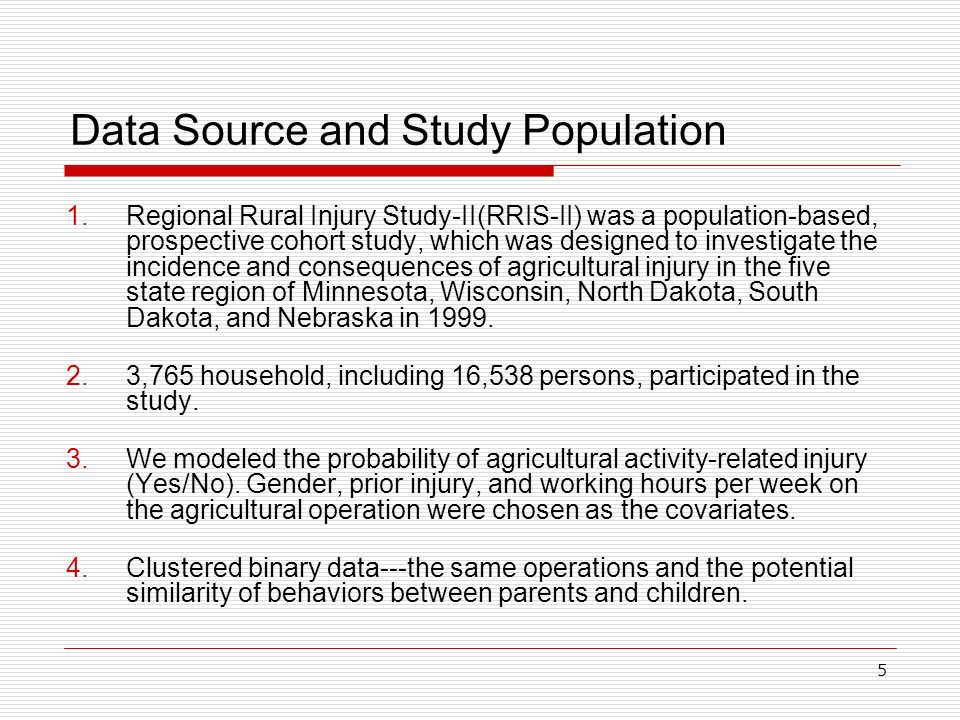5 Data Source and Study Population 1.Regional Rural Injury Study-II(RRIS-II) was a population-based, prospective cohort study, which was designed to i