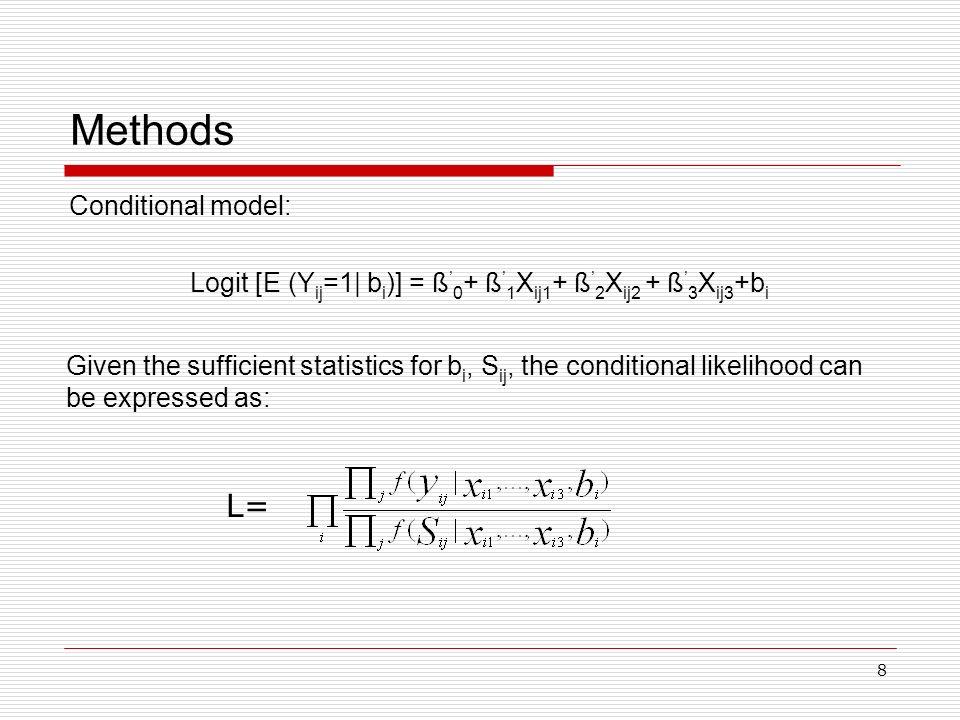 8 Methods Conditional model: Logit [E (Y ij =1| b i )] = ß 0 + ß 1 X ij1 + ß 2 X ij2 + ß 3 X ij3 +b i Given the sufficient statistics for b i, S ij, t