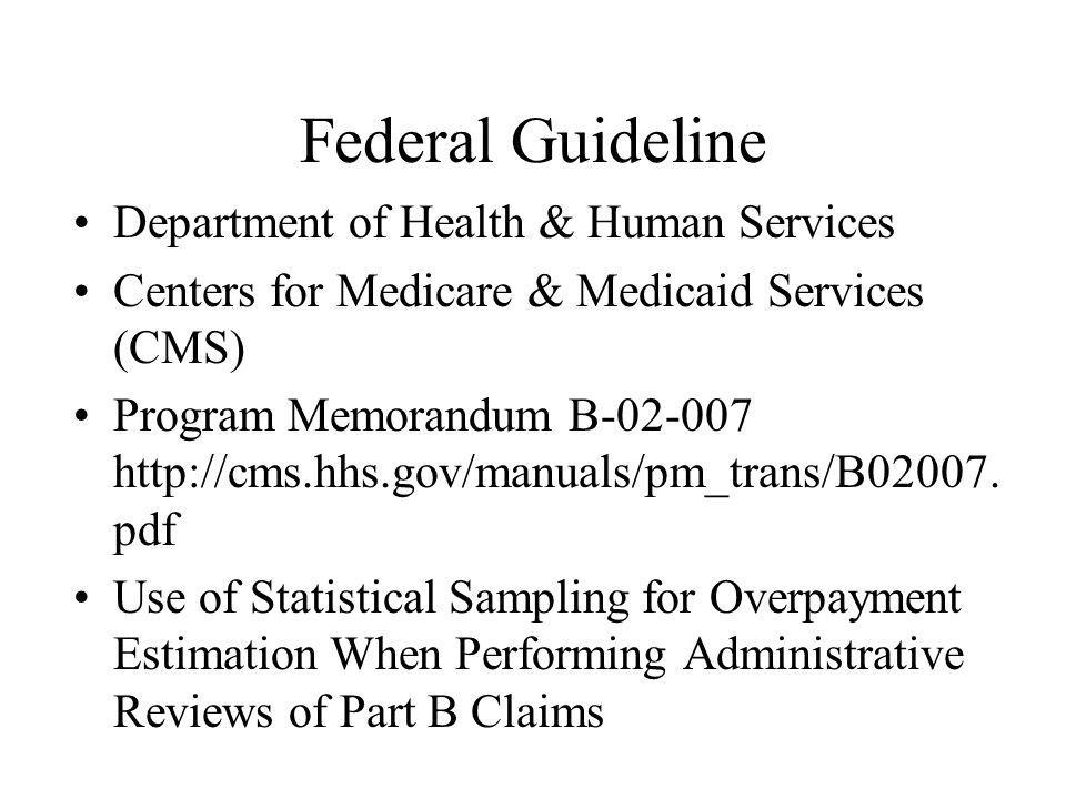 Federal Guideline Department of Health & Human Services Centers for Medicare & Medicaid Services (CMS) Program Memorandum B-02-007 http://cms.hhs.gov/manuals/pm_trans/B02007.