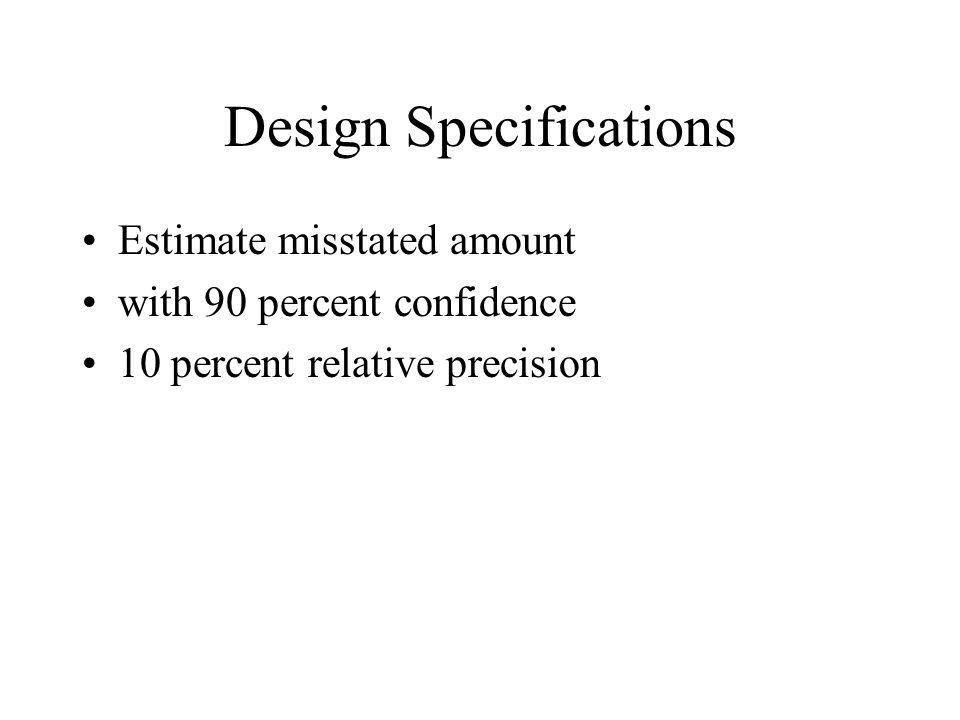 Design Specifications Estimate misstated amount with 90 percent confidence 10 percent relative precision