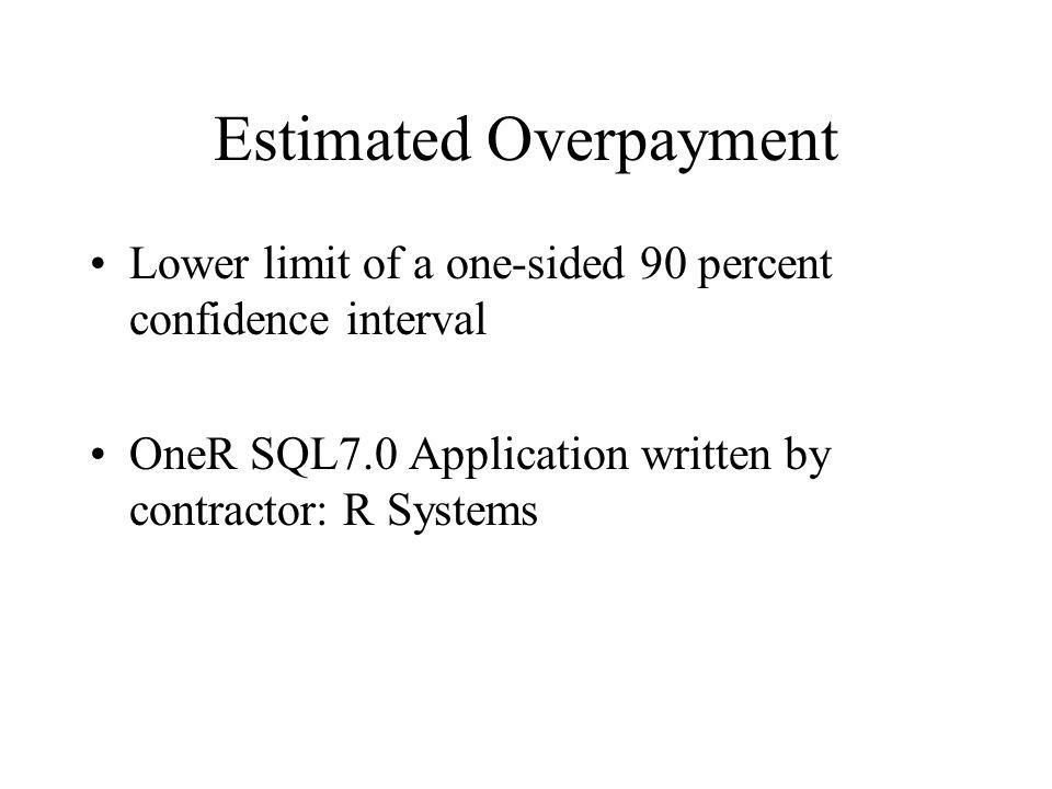 Estimated Overpayment Lower limit of a one-sided 90 percent confidence interval OneR SQL7.0 Application written by contractor: R Systems