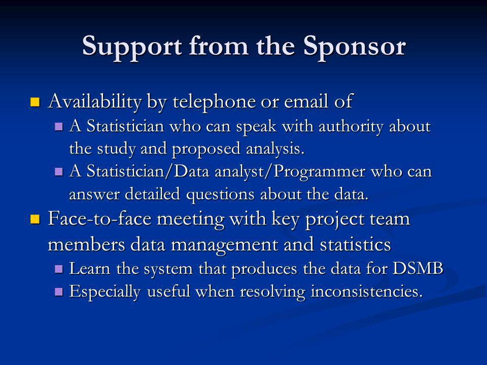 Support from the Sponsor Availability by telephone or  of Availability by telephone or  of A Statistician who can speak with authority about the study and proposed analysis.