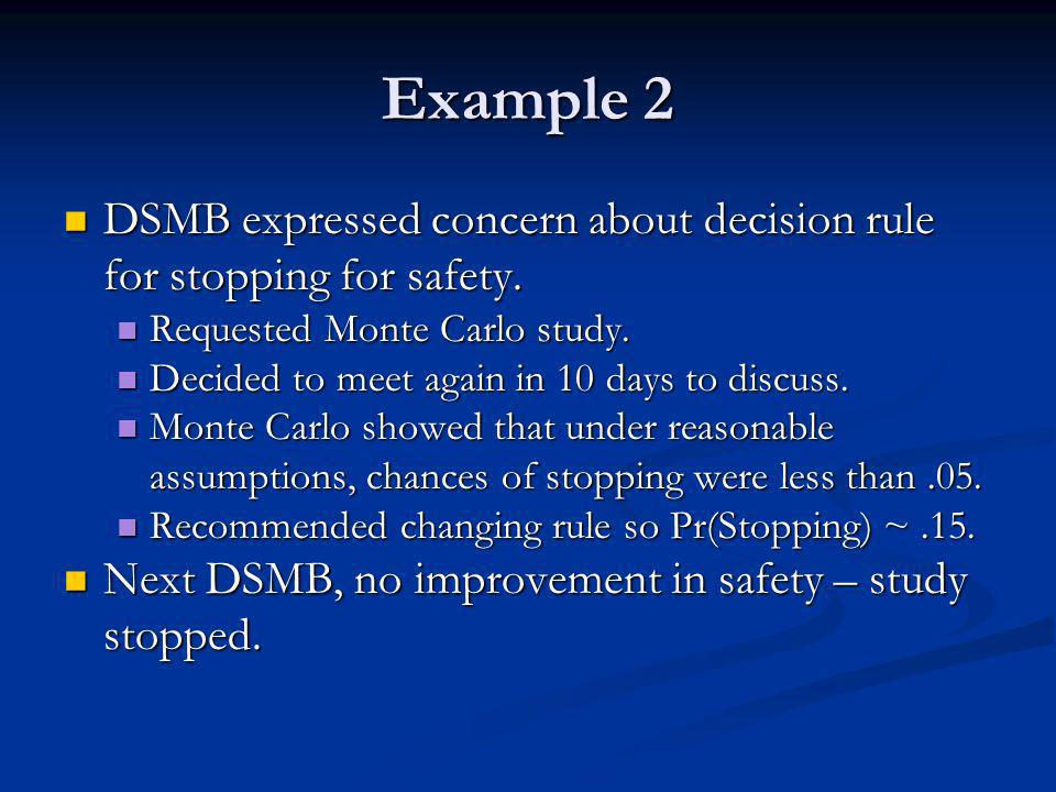 Example 2 DSMB expressed concern about decision rule for stopping for safety.