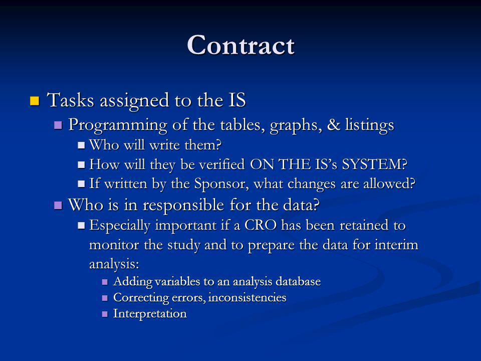 Contract Tasks assigned to the IS Tasks assigned to the IS Programming of the tables, graphs, & listings Programming of the tables, graphs, & listings Who will write them.