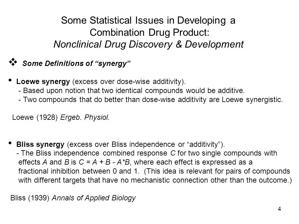 4 Some Statistical Issues in Developing a Combination Drug Product: Nonclinical Drug Discovery & Development Some Definitions of synergy Loewe synergy (excess over dose-wise additivity).