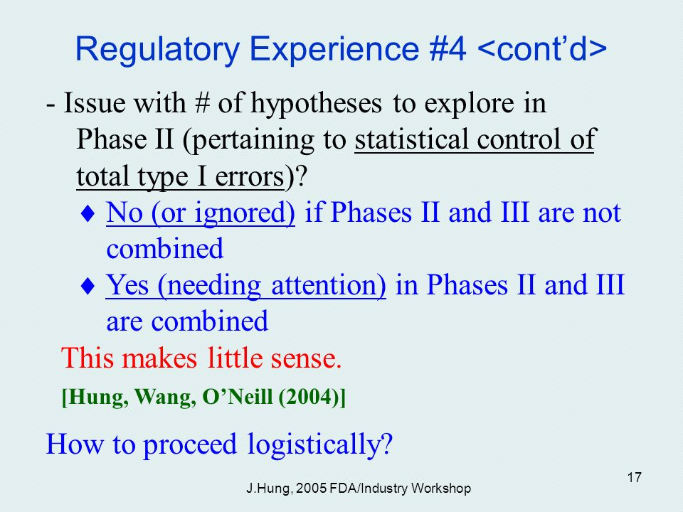J.Hung, 2005 FDA/Industry Workshop 17 Regulatory Experience #4 - Issue with # of hypotheses to explore in Phase II (pertaining to statistical control of total type I errors).