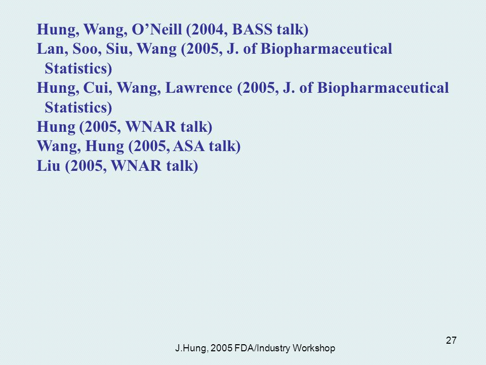 J.Hung, 2005 FDA/Industry Workshop 27 Hung, Wang, ONeill (2004, BASS talk) Lan, Soo, Siu, Wang (2005, J.