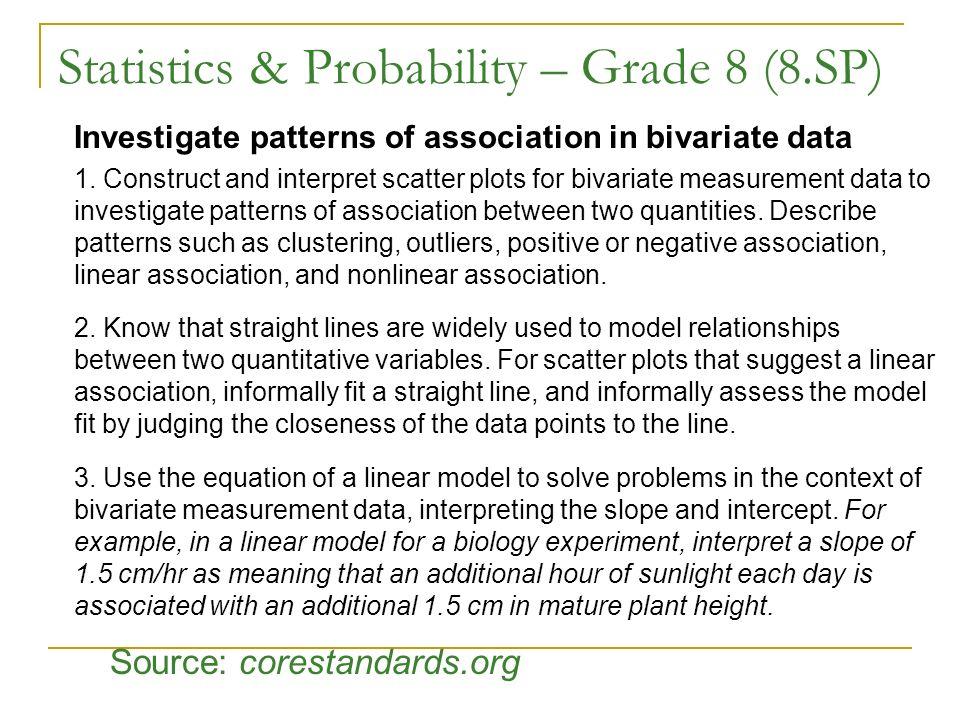 Statistics & Probability – Grade 8 (8.SP) Investigate patterns of association in bivariate data 1. Construct and interpret scatter plots for bivariate