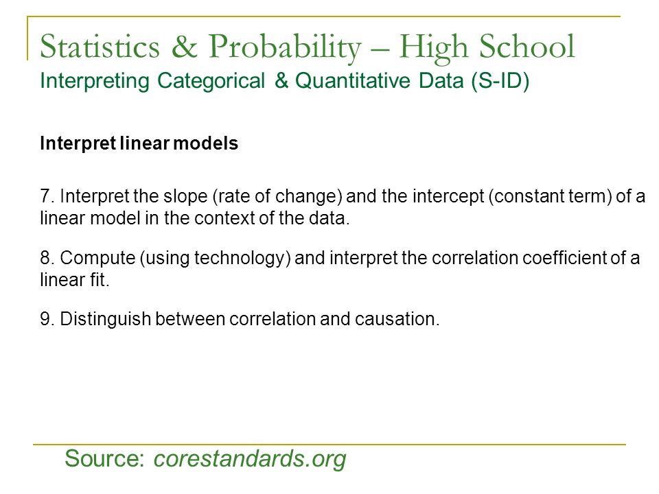Statistics & Probability – High School Interpreting Categorical & Quantitative Data (S-ID) Interpret linear models 7. Interpret the slope (rate of cha