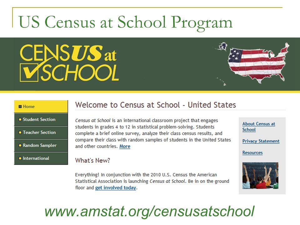 US Census at School Program www.amstat.org/censusatschool