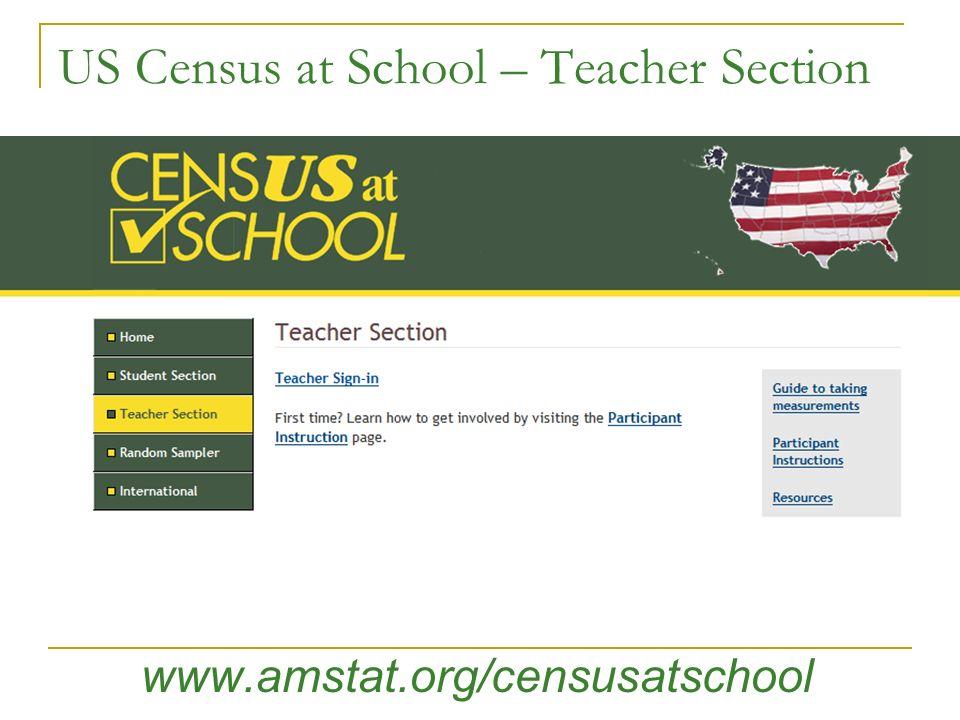 US Census at School – Teacher Section www.amstat.org/censusatschool