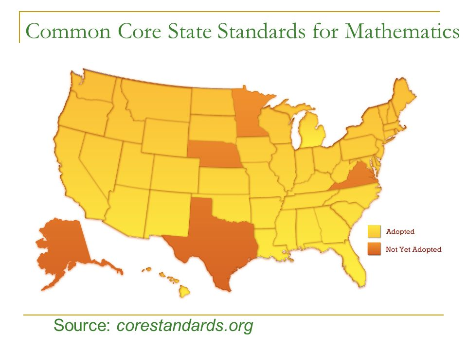 Common Core State Standards for Mathematics Source: corestandards.org
