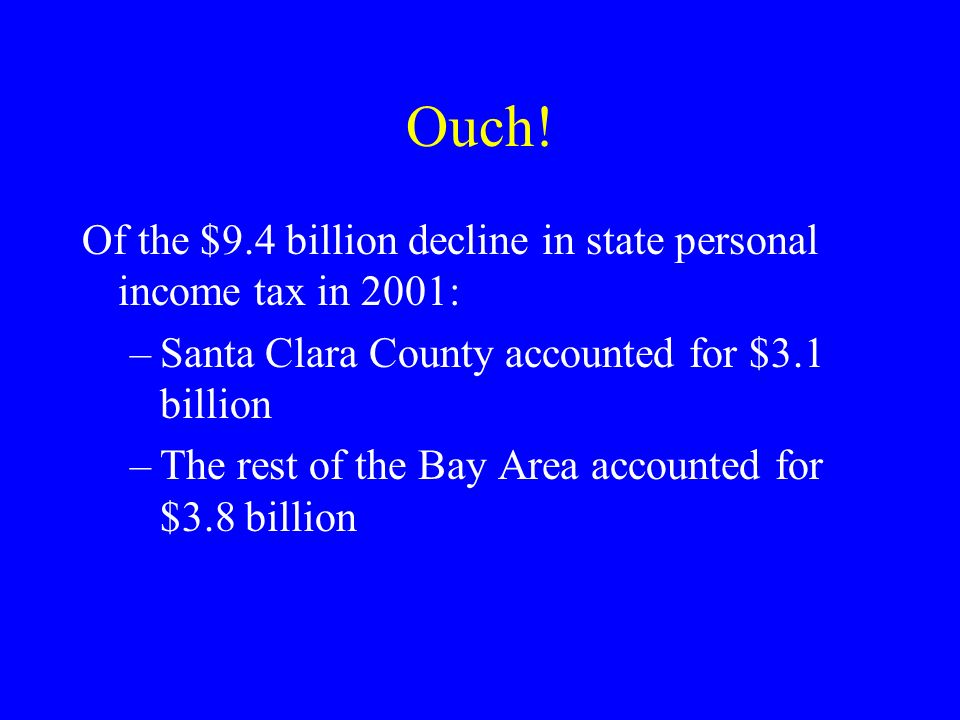 Ouch! Of the $9.4 billion decline in state personal income tax in 2001: –Santa Clara County accounted for $3.1 billion –The rest of the Bay Area accou
