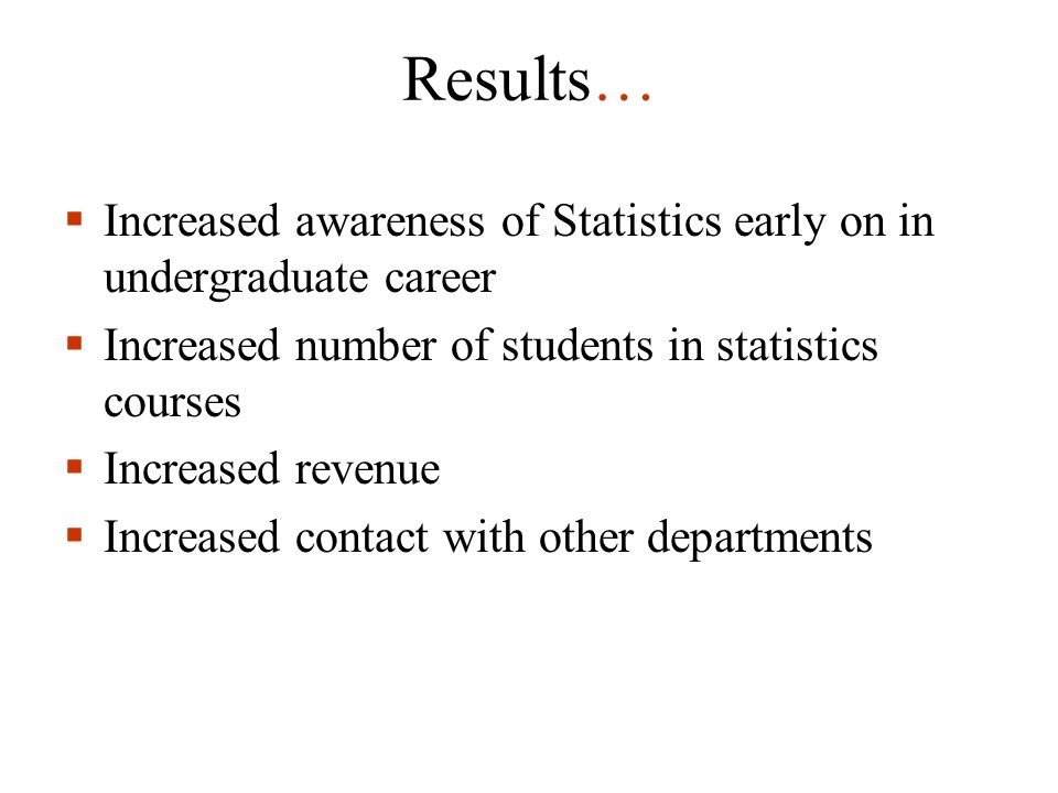 Results… Increased awareness of Statistics early on in undergraduate career Increased number of students in statistics courses Increased revenue Incre