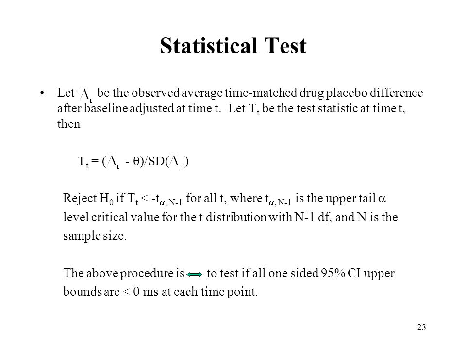23 Statistical Test Let be the observed average time-matched drug placebo difference after baseline adjusted at time t.