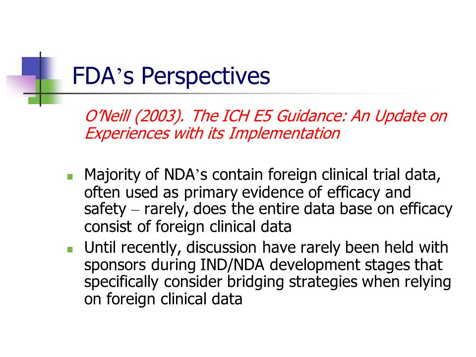 FDA s Perspectives ONeill (2003). The ICH E5 Guidance: An Update on Experiences with its Implementation Majority of NDA s contain foreign clinical tri