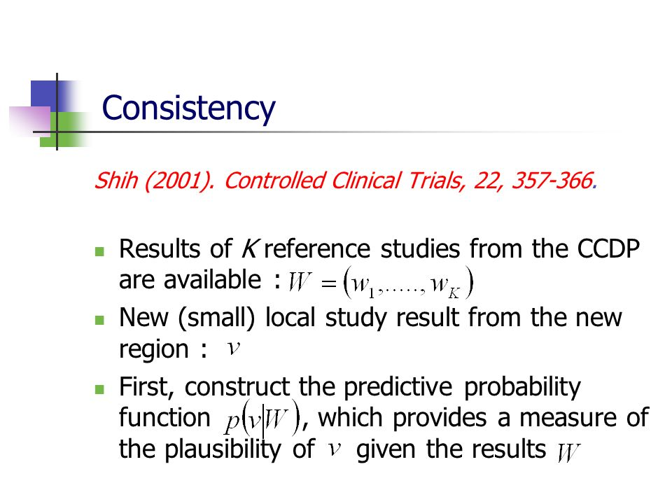 Consistency Shih (2001). Controlled Clinical Trials, 22, 357-366. Results of K reference studies from the CCDP are available : New (small) local study