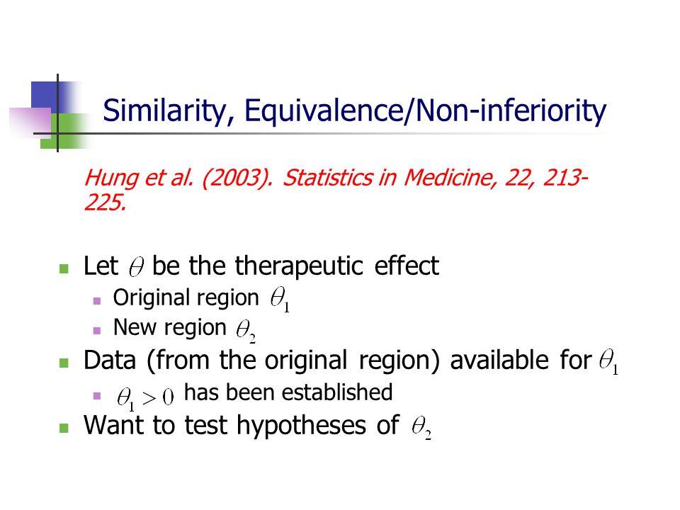 Similarity, Equivalence/Non-inferiority Hung et al. (2003). Statistics in Medicine, 22, 213- 225. Let be the therapeutic effect Original region New re