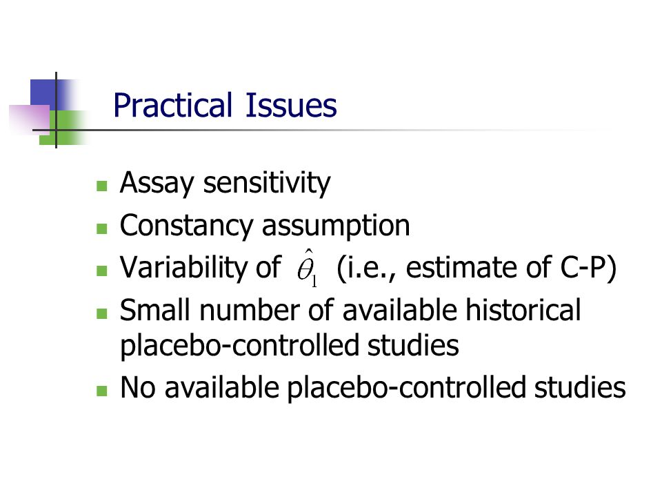 Practical Issues Assay sensitivity Constancy assumption Variability of (i.e., estimate of C-P) Small number of available historical placebo-controlled