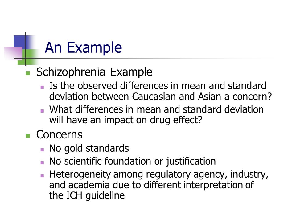 An Example Schizophrenia Example Is the observed differences in mean and standard deviation between Caucasian and Asian a concern? What differences in