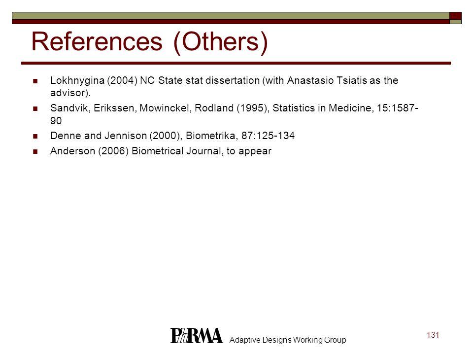 131 Adaptive Designs Working Group References (Others) Lokhnygina (2004) NC State stat dissertation (with Anastasio Tsiatis as the advisor). Sandvik,