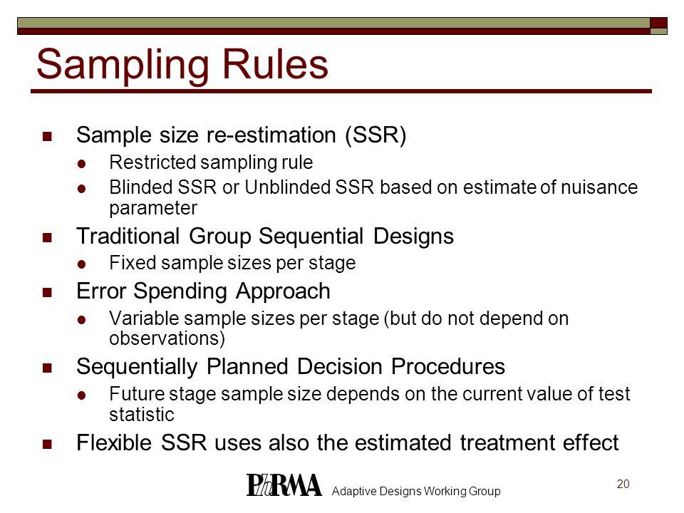 20 Adaptive Designs Working Group Sampling Rules Sample size re-estimation (SSR) Restricted sampling rule Blinded SSR or Unblinded SSR based on estima