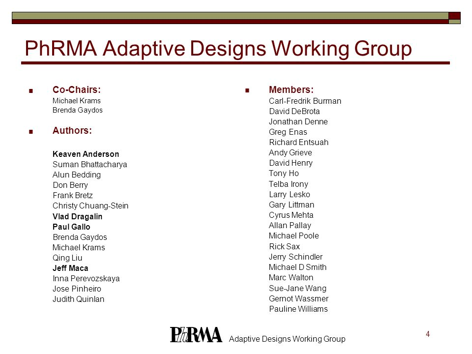 25 Adaptive Designs Working Group Screening Designs Objective: adaptive design for the entire screening program Minimize the shortest time to identify the promising compound Subject to the given constraints on type I and type II risks for the entire screening program type I risk = Pr(screening procedures stops with a FP compound) type II risk= Pr(any of the rejected compounds is a FN compound) Two-stage design (Yao&Venkatraman, 1998) Adaptive screening designs (Stout and Hardwick, 2002) Bayesian screening designs (Berry, 2001)