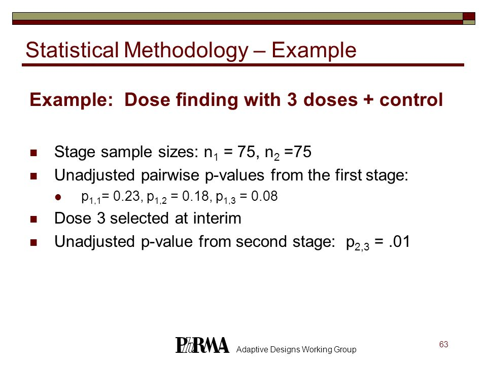 63 Adaptive Designs Working Group Statistical Methodology – Example Example: Dose finding with 3 doses + control Stage sample sizes: n 1 = 75, n 2 =75