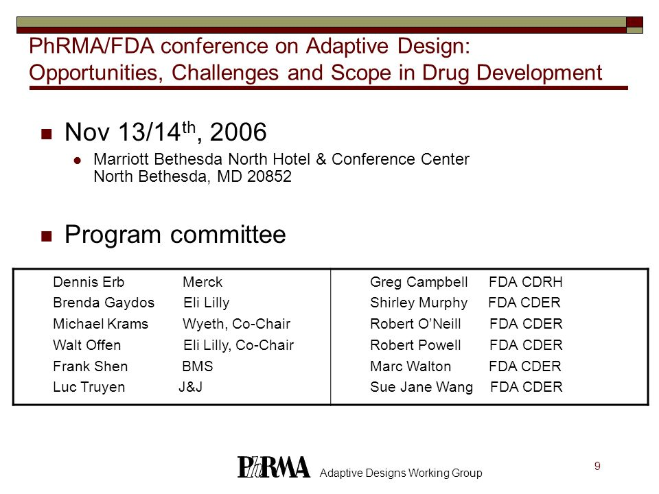30 Adaptive Designs Working Group Adaptive GSD (Flexible Designs) Objective: testing two hypotheses with given significance level and power at the specified alternative or adaptively changing the alternative at which a specified power is to be attained AR: fixed or adaptive randomization SaR: sample size of the next stage depends on results at the time of interim analysis StR: p-value combination, conditional error, variance-spending DR: adapting alternative hypothesis, primary endpoint, test statistics, inserting or skipping IAs References: Bauer; Brannath et al; Müller&Schäfer; Fisher