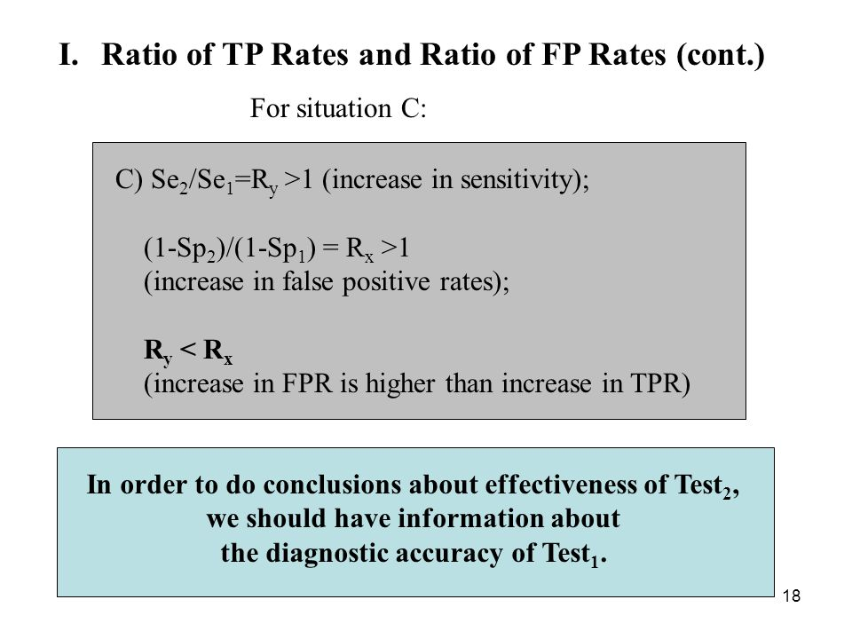 18 I.Ratio of TP Rates and Ratio of FP Rates (cont.) C) Se 2 /Se 1 =R y >1 (increase in sensitivity); (1-Sp 2 )/(1-Sp 1 ) = R x >1 (increase in false positive rates); R y < R x (increase in FPR is higher than increase in TPR) For situation C: In order to do conclusions about effectiveness of Test 2, we should have information about the diagnostic accuracy of Test 1.