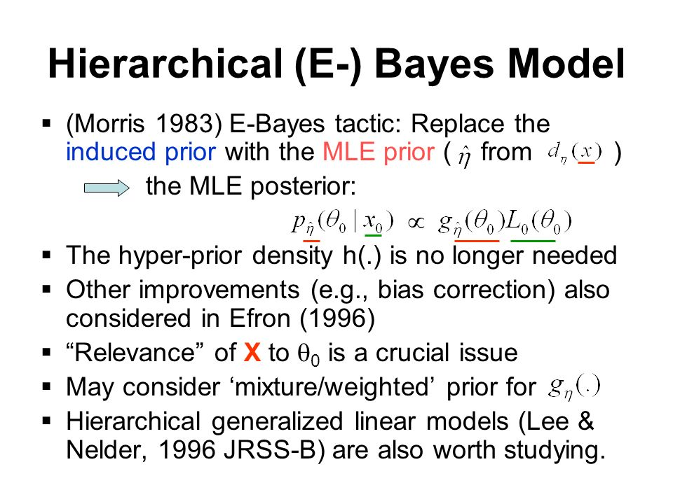 Hierarchical (E-) Bayes Model (Morris 1983) E-Bayes tactic: Replace the induced prior with the MLE prior ( from ) the MLE posterior: The hyper-prior density h(.) is no longer needed Other improvements (e.g., bias correction) also considered in Efron (1996) Relevance of X to 0 is a crucial issue May consider mixture/weighted prior for Hierarchical generalized linear models (Lee & Nelder, 1996 JRSS-B) are also worth studying.