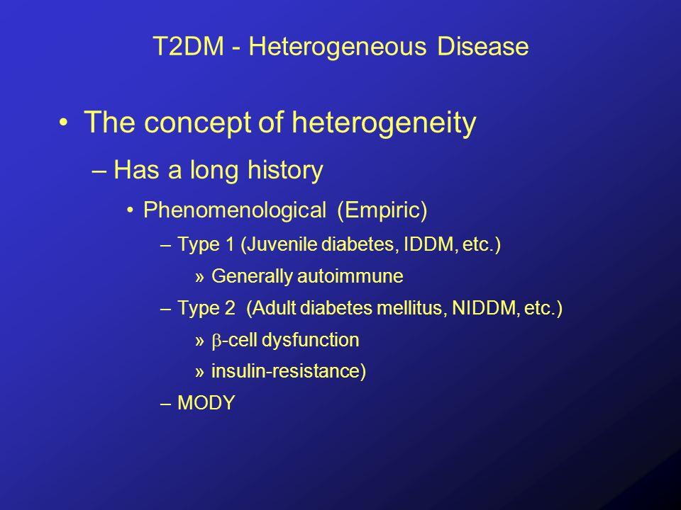 T2DM - Heterogeneous Disease The concept of heterogeneity (Type 2) –MODY as a model Glucokinase HNFs Other...