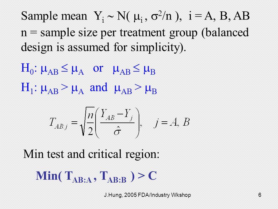 J.Hung, 2005 FDA/Industry Wkshop6 Sample mean Y i N( i, 2 /n ), i = A, B, AB n = sample size per treatment group (balanced design is assumed for simpl