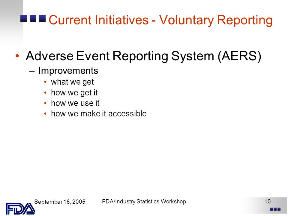 September 16, 2005 FDA/Industry Statistics Workshop10 Current Initiatives - Voluntary Reporting Adverse Event Reporting System (AERS) –Improvements what we get how we get it how we use it how we make it accessible
