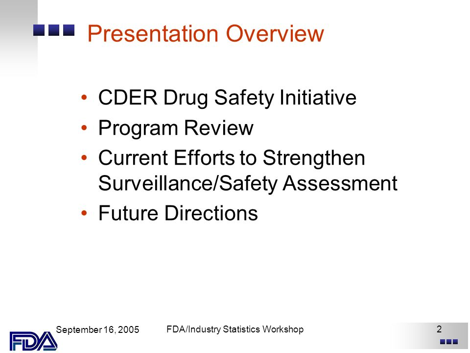 September 16, 2005 FDA/Industry Statistics Workshop2 Presentation Overview CDER Drug Safety Initiative Program Review Current Efforts to Strengthen Surveillance/Safety Assessment Future Directions