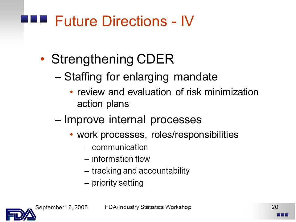 September 16, 2005 FDA/Industry Statistics Workshop20 Future Directions - IV Strengthening CDER –Staffing for enlarging mandate review and evaluation of risk minimization action plans –Improve internal processes work processes, roles/responsibilities –communication –information flow –tracking and accountability –priority setting