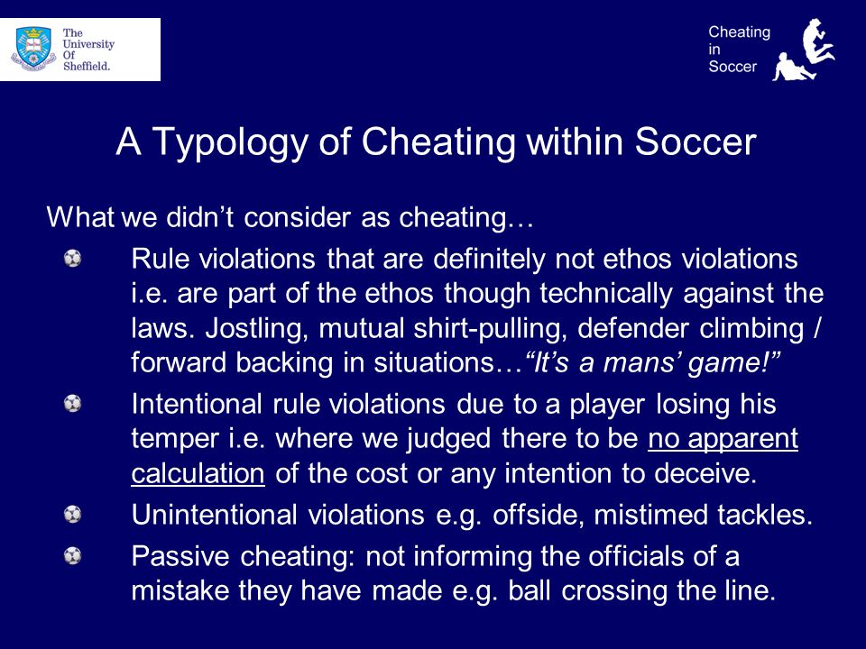 A Typology of Cheating within Soccer What we didnt consider as cheating… Rule violations that are definitely not ethos violations i.e.