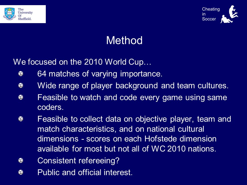 Method We focused on the 2010 World Cup… 64 matches of varying importance.