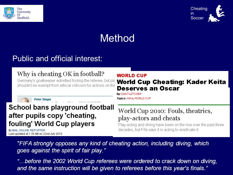 Method Public and official interest: FIFA strongly opposes any kind of cheating action, including diving, which goes against the spirit of fair play.