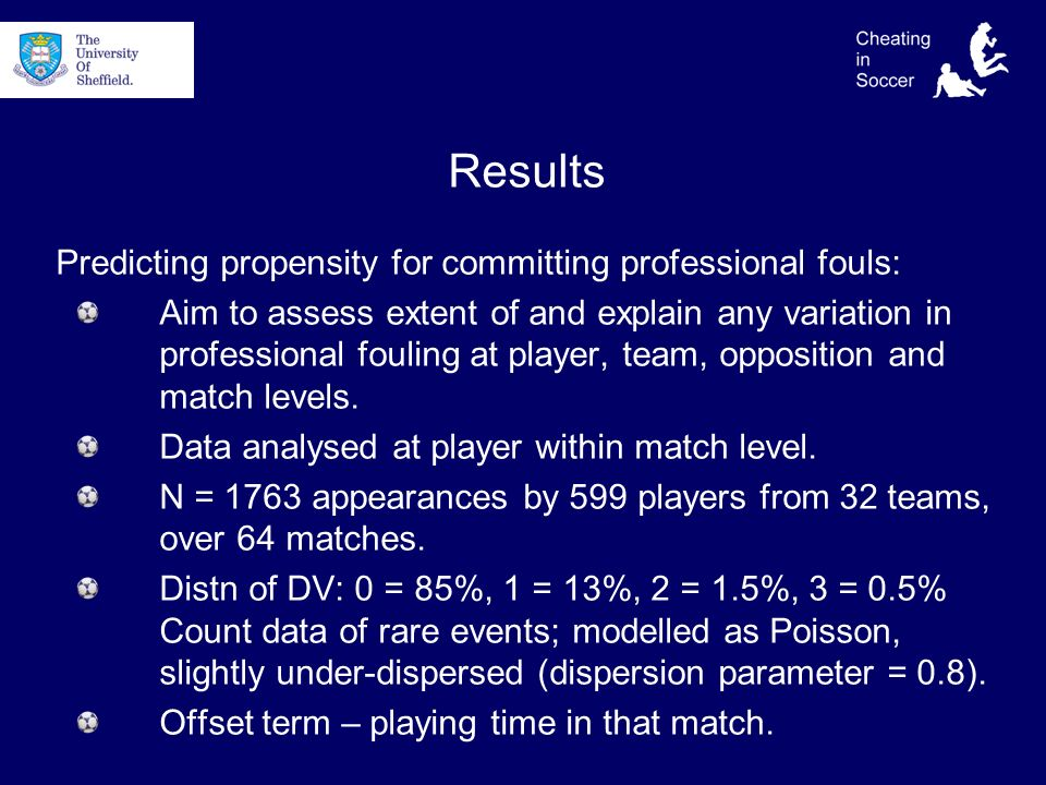 Results Predicting propensity for committing professional fouls: Aim to assess extent of and explain any variation in professional fouling at player, team, opposition and match levels.
