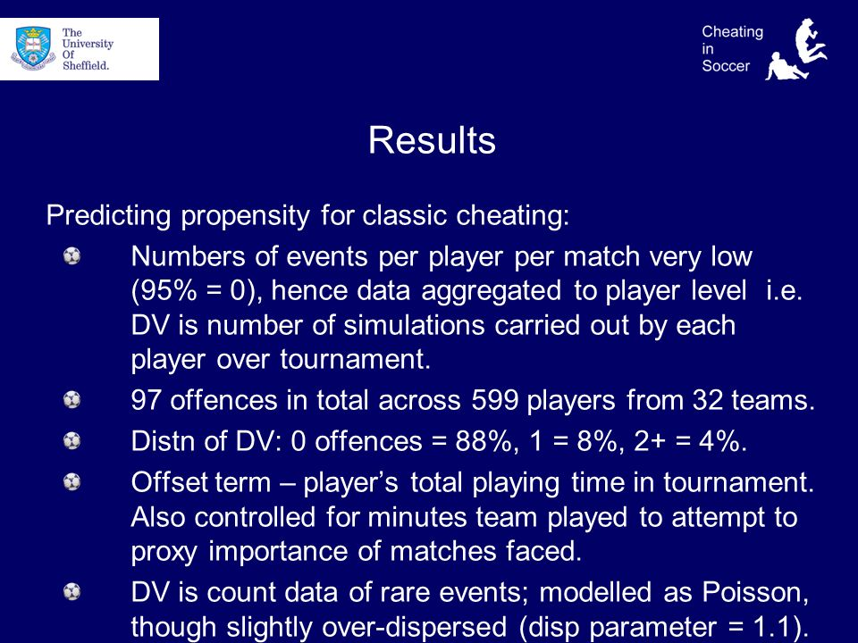 Results Predicting propensity for classic cheating: Numbers of events per player per match very low (95% = 0), hence data aggregated to player level i.e.